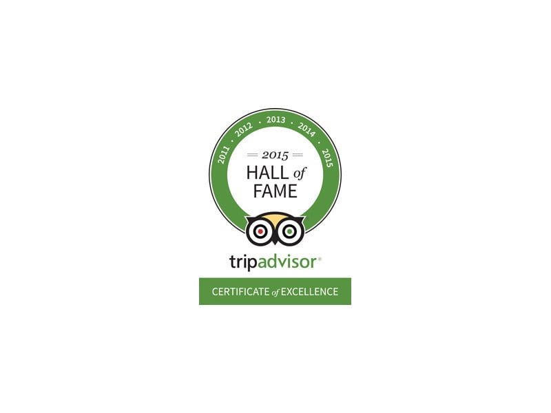 TripAdvisor Certificate of Excellence for five consecutive years